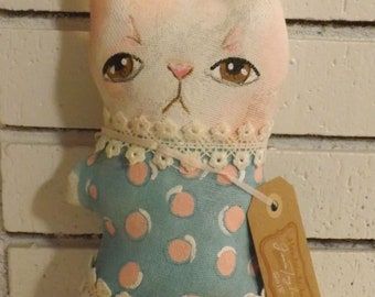 Bunny,Rabbit Doll,Primitive Art Doll,Cushion Doll,Softie,Art Doll,Shabby Chic,Folk Art Doll,Folk Art Rabbit,Ornie,Whimsical,Cloth Doll