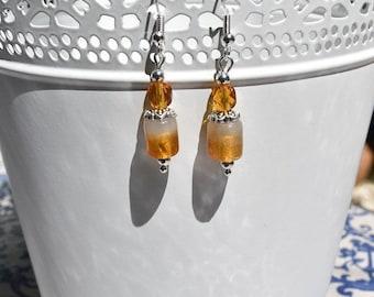 Caramel beaded earrings