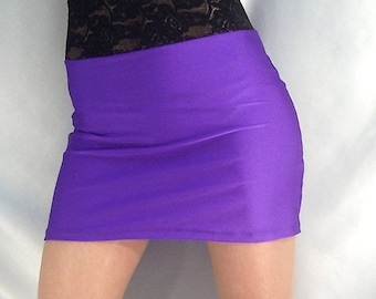 High waisted purple shiny spandex mini skirt with black lace top