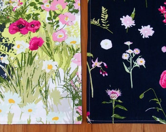 Pink, White and Black Placemats (2) with Flowers, Botanical Placemats, Floral Placemats, Katarina Roccella Lavish, Black Table Linens