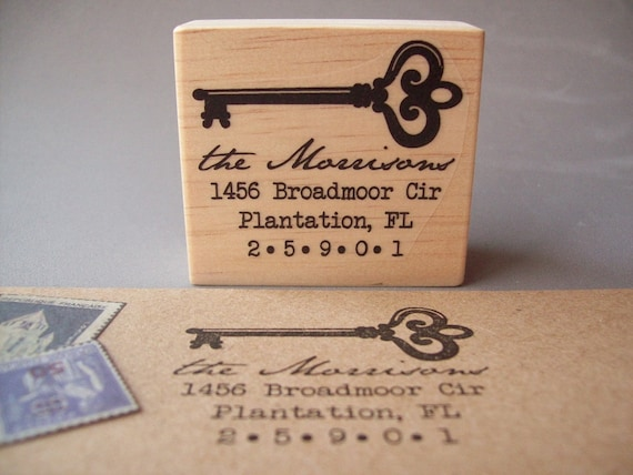 Return Address Stamp , Custom Personalized Skeleton Key Vintage Antique