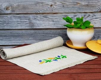 Cottage decor, Tea towel, Kitchen towel, Towels, Natural Linen Tea Towel, Embroidered Floral Hand Towel,  Linen Towel, Eco-friendly Gift