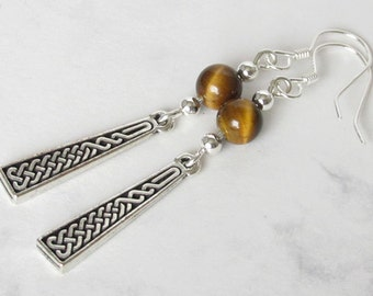 Celtic Knot Tigers Eye Earrings, Sterling Silver Beads, Sterling Silver Earwires
