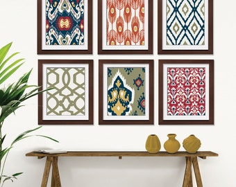 Ikat and Geometric Patterns (Series G2) Set of 6 - Art Prints (Featured in Sedona Valley Color Scheme) Navy Blue Ikat Wall Art
