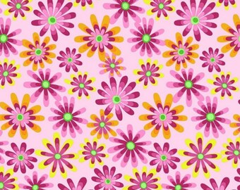 Per Yard, Flower Power Light Pink Background Fabric