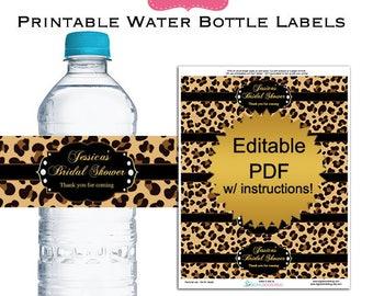 DIY editable printable water bottle labels PDF leopard bridal shower favors Digital File (No.7)