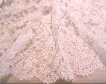 """White Rose Pattern French Alencon Bridal Lace Fabric 36"""" Wide--One Yard"""