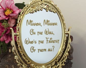 Mirror with decal inscription/Mirror mirror on the wall who's the fairest of them all mirror sign/Fairytale party/Princess party/Snow white