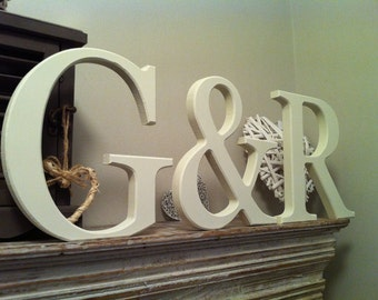 Wooden Wedding Letters, Free-standing, Set of 3 - Photo Props - 25cm, various colours and finishes available