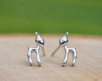 Adorable Silver Deer Earrings in 100% Sterling Silver 925, Animal Jewelry, Forest Animals, Animal Lovers, Children's Earrings