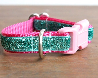 "1/2"" Puppy Dog Collar, Small Dog Collar in Pink, Teal Dog Collar,"