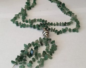 Green Jade Clear Glass Seeds,  Two Strings Drop Necklace