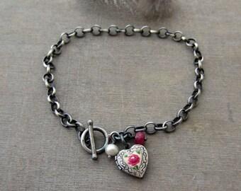 Silver Locket Bracelet, Sterling Silver Heart Locket Bracelet, Oxidize Silver Bracelet, Birthstone Bracelet, Tiny Heart, Guilloche Locket