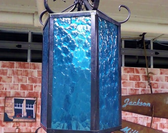 Mid Century Wrought Iron Pendant Light - Spanish Revival Style - Blue Glass - 1960s Boho