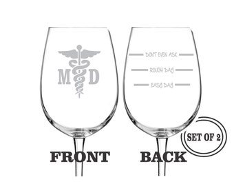 2 MEDICAL DOCTOR ETCHED Wine Glasses Set of 2 Engraved Wine Glasses Gift for Doctor Funny Wine Glasses Gift Toasting Glasses Cocktail Glass