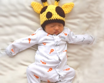 Newborn Photo Prop, Crochet Giraffe Hat, Animal Beanie, Baby Boys Hat, Yellow Baby Hat, Knit Giraffe, Crochet Baby Beanie, Infant Animal Hat