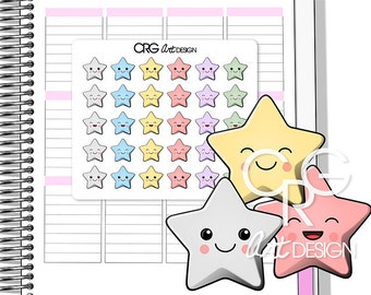Kawaii Star Stickers | Planner Erin Condren Plum Planner Filofax Sticker