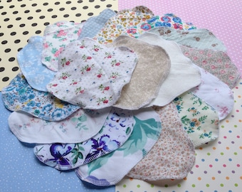 GRAB BAG 3-7-15, 100% Cotton Reusable Cloth Pantyliners, Panty Liners, Variety Set, 3 Sizes, Daily Freshness