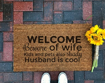 Beware Of Wife / Funny Doormat / Welcome Mat / Outdoor Rug / Front Porch / Modern Farmhouse / Gifts For Him / Home Decor / Spring Decor