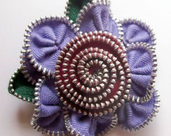 Periwinkle / Lavender  and Red Floral Brooch / Zipper Pin by ZipPinning 3100
