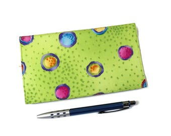 Checkbook Cover, Duplicate Checks, Pen Holder, Polka Dots on Lime Green Check Book Cover, Cheque Book Cover, Ready to ship