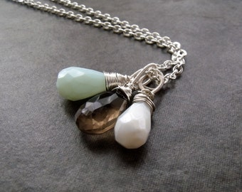 Aqua and White Opal with Smokey Quartz Gemstone Cluster Pendant Silver Chain Necklace
