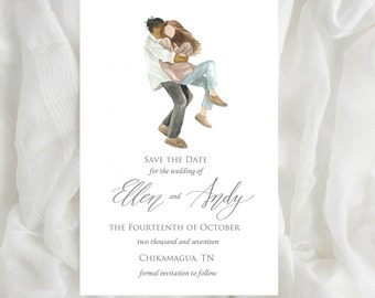 Custom Watercolor Save the Date Card