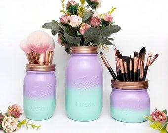 Mermaid jar, Ombre mason jar, mermaid party decorations, makeup pot, teen girl gift, mermaid makeup brush holder, dressing table accessories
