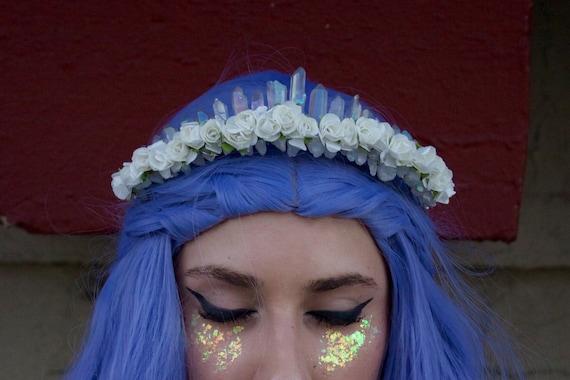 The Selene Mermaid Crown - [Deep Blue Angel Aura Crystal Quartz Crown / Tiara] OeX5InP