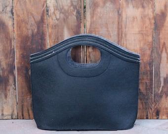 Monogrammed Felt Tote Bag  -  Black and Grey Tote
