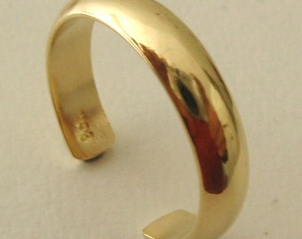 Genuine SOLID 9ct YELLOW GOLD Dome toe Ring