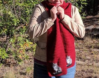 Silver Fox Scarf - Grey Fox Scarf for Women or Men - Autumn Red Crochet Scarves - Crocheted Scarf - Unisex Scarf - Animal Scarf - Long