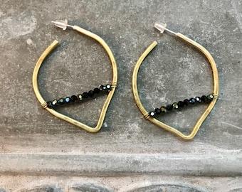 Brass and crystal hoop earrings