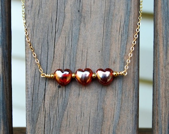 Red Heart Bar Neclace (N8)