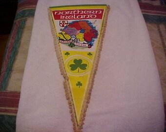 Northern Ireland vintage vinyl shamrock pennant