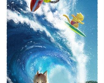 Pawsome Surfers art print