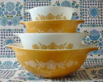 Full Set Butterfly Gold Pyrex Cinderella bowls