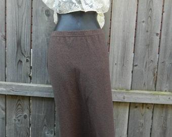 Vintage Karen Kane Brown Skirt, Brown Winter A-Line Skirt, Vintage 1970s Midi Skirt, Solid Colored Karen Kane Size Medium Skirt, Brown Skirt