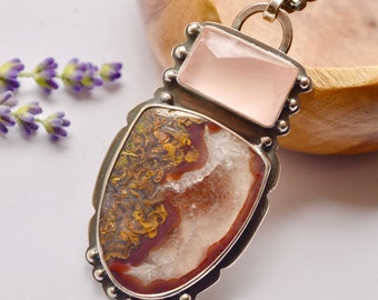 Agate Necklace, Rose Quartz Pendant, Turkish Agate, One of a Kind, Metalsmithed, Silver Granules, Studded Silver and Stone Pendant
