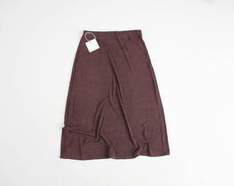 brown slinky skirt | 90s midi skirt | micro pleat skirt