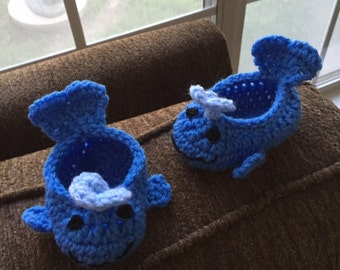 Blue Whale Baby Booties Doll Shoes Size 0-6 Mos Made to Order Handmade Crocheted New Night and Day Crochet