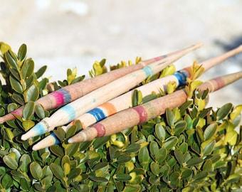 Wooden spindles, Vintage spindles, Primitive Bulgarian spindles set of 4, Antique wool spindles, Old finds, Rustic decor