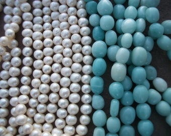"FRESHWATER PEARLS ~ Amazonite Beads ~ Rounds or Ovals ~ Full & Half Strand Choice 16"" 14"" 7"""
