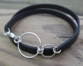 NEXUS LEATHER BRACELET, sterling silver leather wrap bracelet simple bracelet stackable bracelet