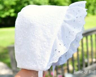 White Cotton Eyelet Baby Bonnet, Lace Bonnet, Christening, Baptism, Homecoming, Dedication, Sun Hat, Newborn 0 6M 12M 18M 24M