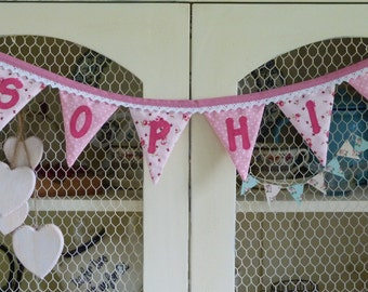 HANDMADE Personalised BUNTING pink Bedroom Birthday Baby Gift