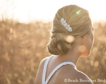 Crystal Bridal Hair Comb, Silver Wedding Hair Comb, Crystal Rhinestone Rose Gold Hair Comb, Crystal Pearl Hair Accessory, Silver Hair Comb