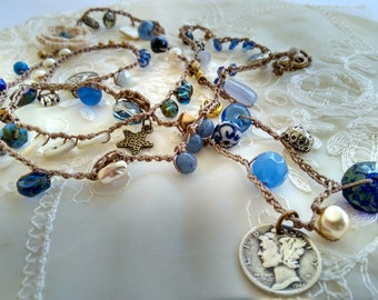 Boho Crocheted and Beaded Necklace