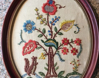 Embroidered Tree Picture w/ Frame