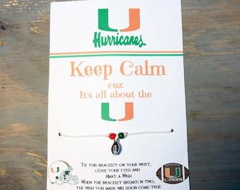 UM Football wish bracelet-Its all about the U-Miami Hurricanes bracelet-Hurricanes football charm bracelet-party favors-Football bracelet